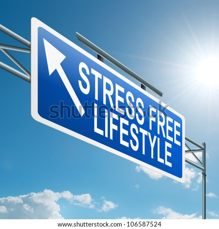 Illustration depicting a highway gantry sign with a stress free concept. Blue sky background.