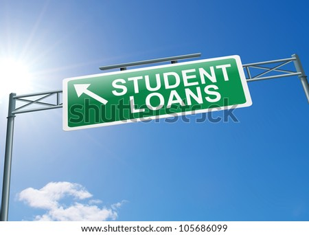Illustration depicting a highway gantry sign with a student loans concept. Blue sky background.