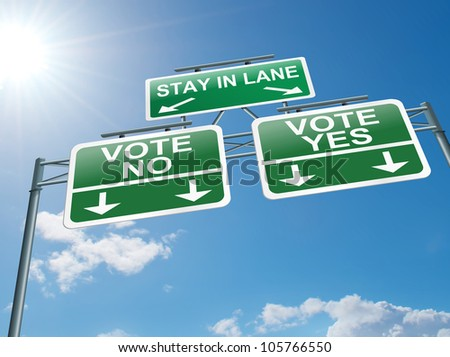 Illustration depicting a highway gantry sign with a voting concept. Blue sky background.
