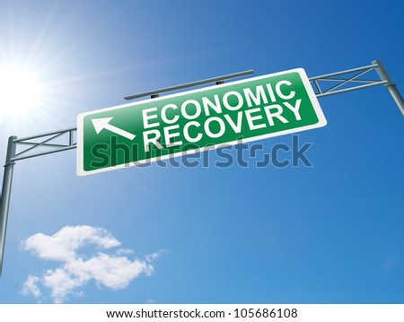 Illustration depicting a highway gantry sign with an economic recovery concept. Blue sky background.