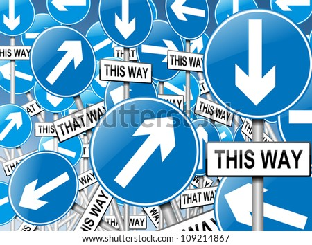 Illustration depicting a large number of directional roadsigns in a chaotic arrangement. Blue background.