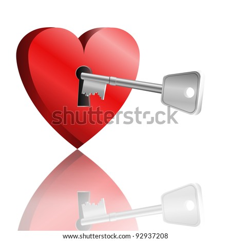 Illustration depicting a love heart with keyhole and a single key reflecting into foreground. White background.