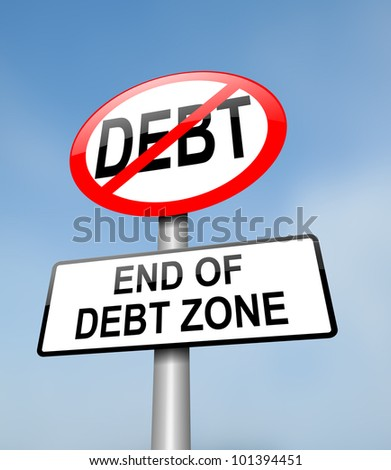 Illustration depicting a red and white road sign with a debt free concept. Blurred blue sky background.