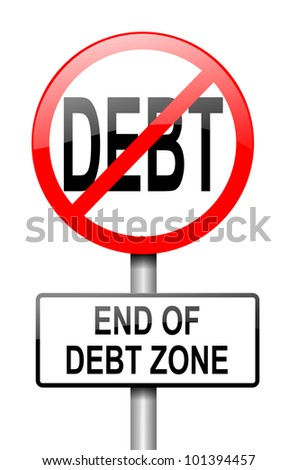 Illustration depicting a red and white road sign with a debt free concept. White background.