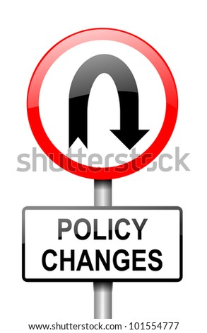 Illustration depicting a red and white road sign with a 'policy change' concept. White background.
