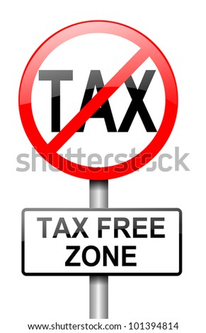 Illustration depicting a red and white road sign with a tax free concept. White background.