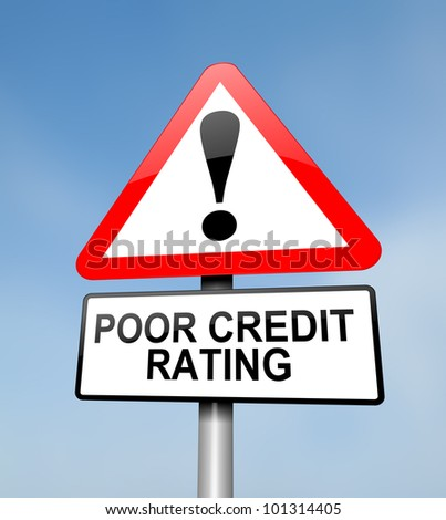 Illustration depicting a red and white triangular warning sign with a credit rating concept. Blurred sky background.