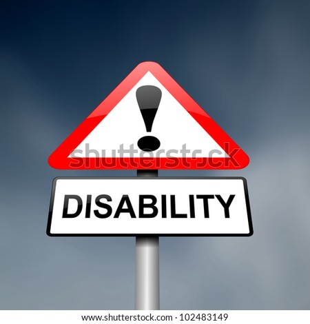 Illustration depicting a red and white triangular warning sign with a 'disability' concept. Dark blurred sky background.