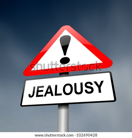 Illustration depicting a red and white triangular warning sign with a jealousy concept. Dark sky background.