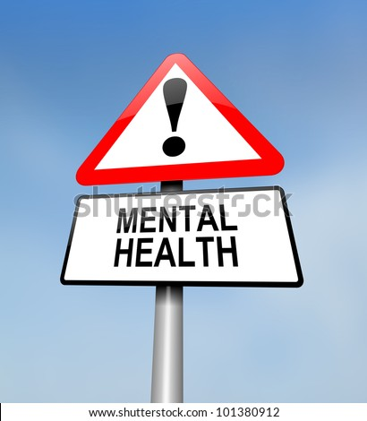 Illustration depicting a red and white triangular warning sign with a mental health concept. Blurred sky background.