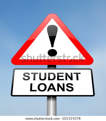 Illustration depicting a red and white triangular warning sign with a student loans concept. Blurred sky background.