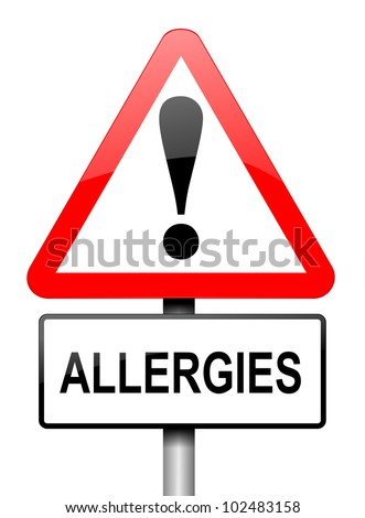 Illustration depicting a red and white triangular warning sign with an 'allergies' concept. White background.