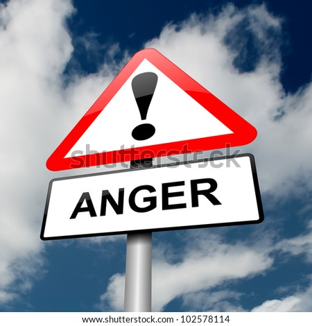 Illustration depicting a red and white triangular warning sign with an 'anger' concept. Sky background.