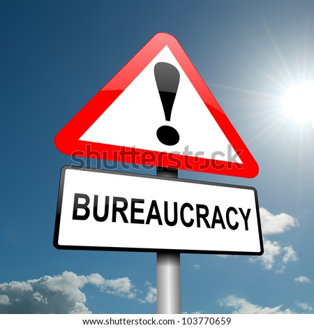 Illustration depicting a road traffic sign with a bureaucracy concept. Blue sky background. - stock photo