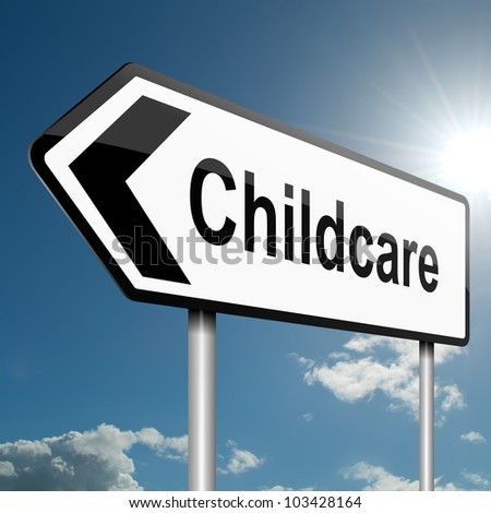 Illustration depicting a road traffic sign with a childcare concept. Blue sky background.