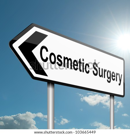 Illustration depicting a road traffic sign with a cosmetic surgery concept. Blue sky background.