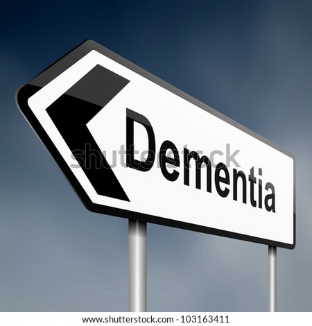 Illustration depicting a road traffic sign with a dementia concept. Blue sky background.