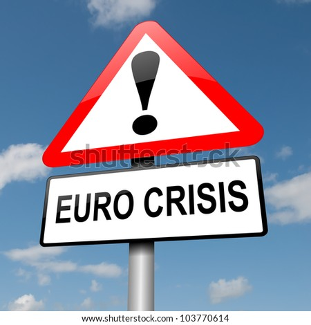 Illustration depicting a road traffic sign with a Euro crisis concept. Blue sky background.