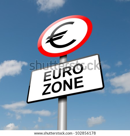 Illustration depicting a road traffic sign with a euro zone concept. Blue sky background.