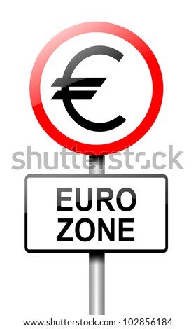 Illustration depicting a road traffic sign with a euro zone concept. White background. - stock photo