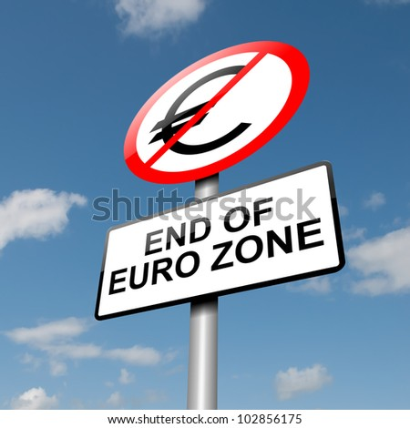 Illustration depicting a road traffic sign with a euro zone end concept. Blue sky background.