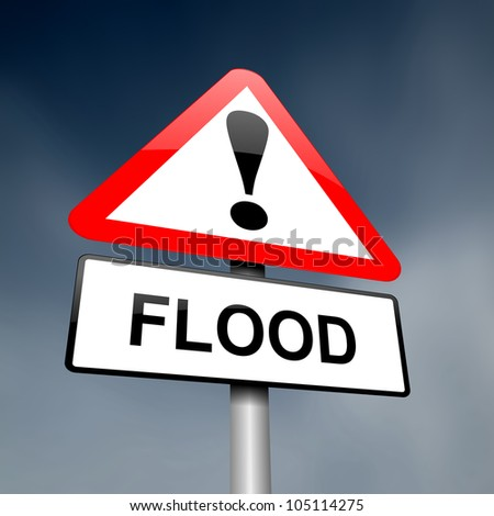 Illustration depicting a road traffic sign with a flood warning. Dark sky background.