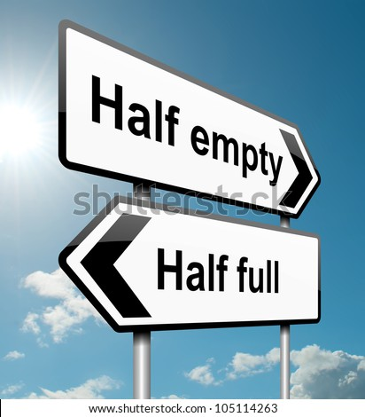 Illustration depicting a road traffic sign with a half empty, half full concept. White background.