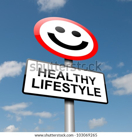 Illustration depicting a road traffic sign with a healthy lifestyle concept. Blue sky background.