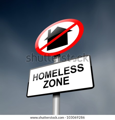 Illustration depicting a road traffic sign with a homeless concept. Dark sky background.