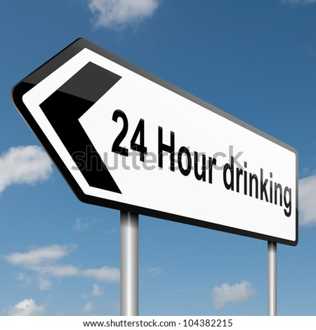 Illustration depicting a road traffic sign with a 24 hour drinking concept. Blue sky background. - stock photo