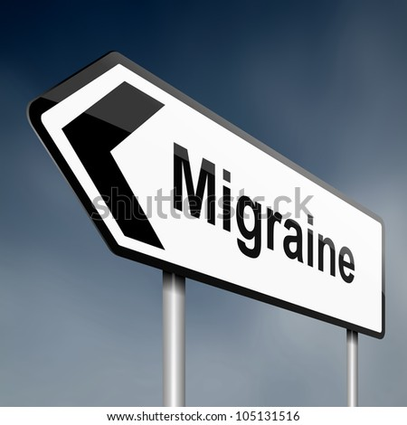 Illustration depicting a road traffic sign with a migraine concept. Dark sky background.