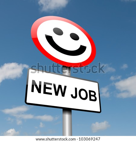 Illustration depicting a road traffic sign with a new job concept. blue sky background.