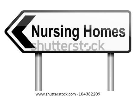 Illustration depicting a road traffic sign with a nursing home concept. White background.