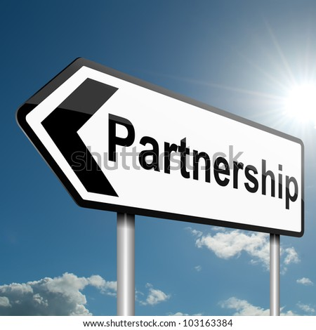 Illustration depicting a road traffic sign with a partnership concept. Blue sky background.