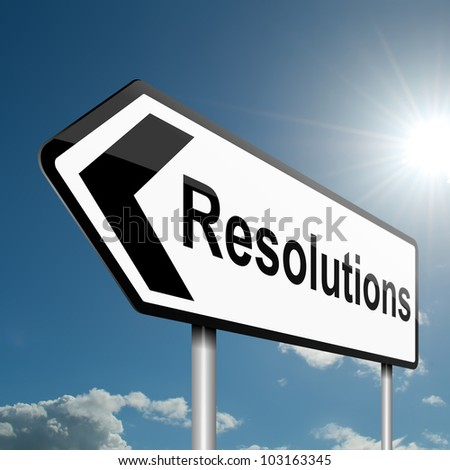 Illustration depicting a road traffic sign with a resolutions concept. Blue sky background.