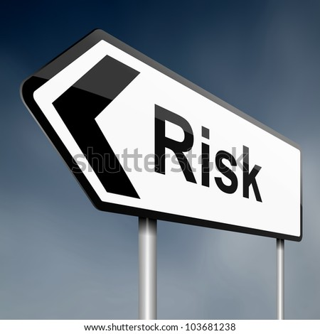 Illustration depicting a road traffic sign with a risk concept. White background.