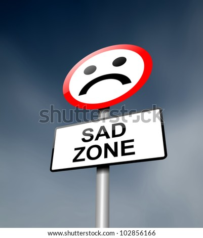 Illustration depicting a road traffic sign with a sadness concept. Dark sky background.