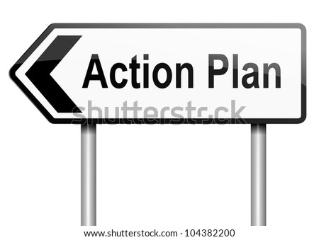 Illustration depicting a road traffic sign with an action plan concept. White background.