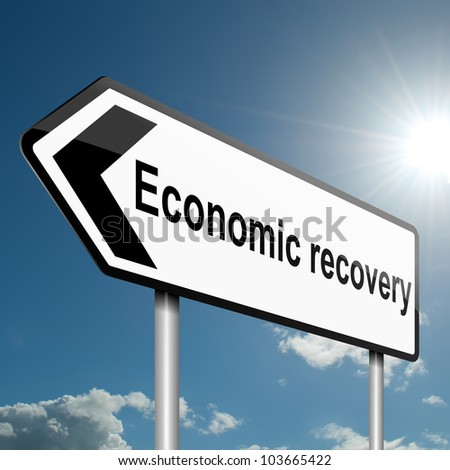 Illustration depicting a road traffic sign with an economic recovery concept. Blue sky background.