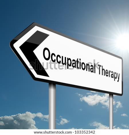 Illustration depicting a road traffic sign with an occupational therapy concept. Blue sky background.