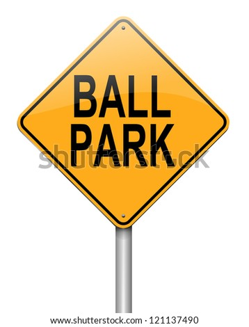 Illustration depicting a roadsign with a ball park concept. White background.