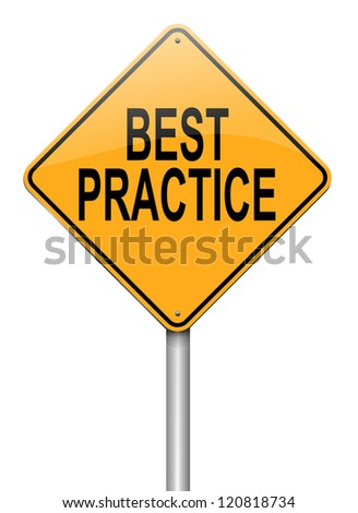 Illustration depicting a roadsign with a best practice concept. White background.
