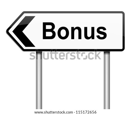 Illustration depicting a roadsign with a bonus concept. White background.