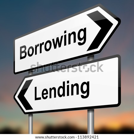 Illustration depicting a roadsign with a borrow or lend concept. Blurred dusk background.