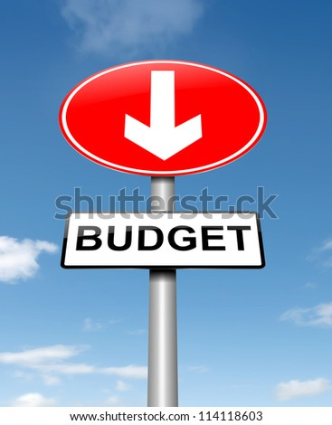 Illustration depicting a roadsign with a budget concept. Sky background.
