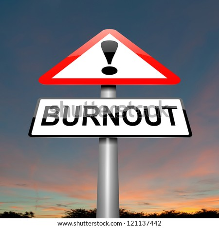 Illustration depicting a roadsign with a burnout concept. Dark cloudy background.