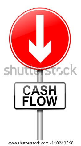 Illustration depicting a roadsign with a cash flow concept. White  background.