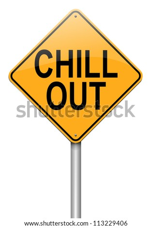 Illustration depicting a roadsign with a 'chill out' concept. White  background.