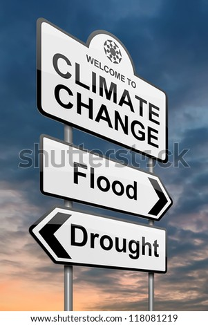 Illustration depicting a roadsign with a climate change concept. Sky background.