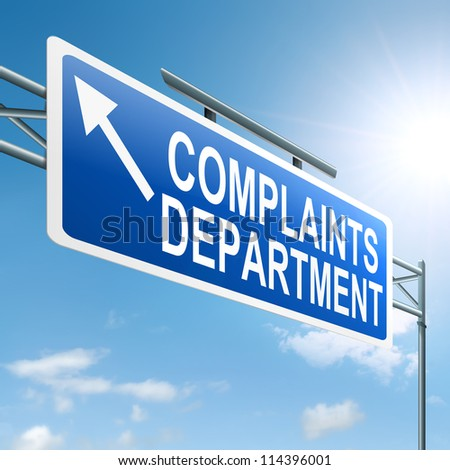 Illustration depicting a roadsign with a complaints department concept. Sky background. - stock photo